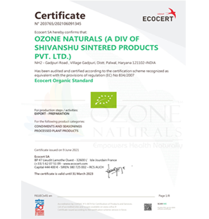 EOS Organic Certificate - Ozone Naturals